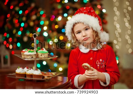 Merry Christmas Little Pretty Girl Hat Stock Photo (Edit Now ...