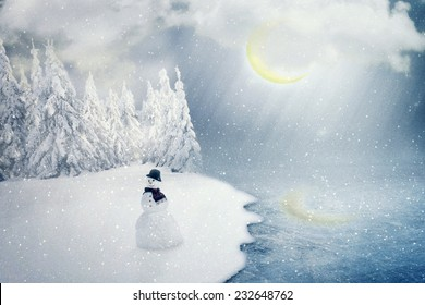 merry christmas new year nature landscape postcard with snowman happy holiday cold winter season greeting