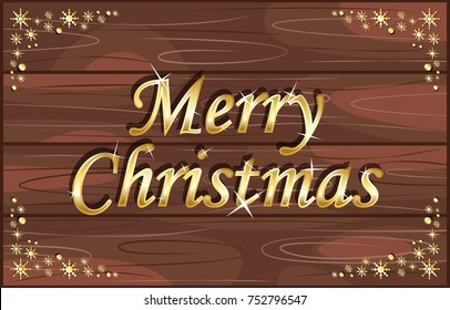 Merry Christmas on wood background