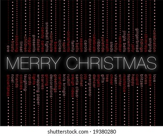 merry christmas and other holiday words on a black background