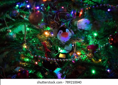 Penguins Christmas Lights Stock Photos Images Photography