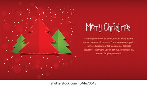 Merry Christmas postcard flat style illustration of New Year trees with text frame placeholder red paper background with stripes circles for card invitation greeting, modern design card stock iamge