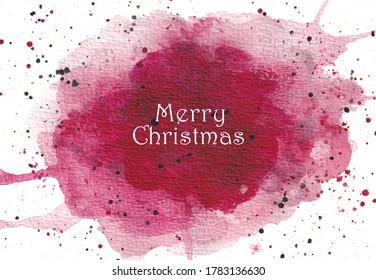 Merry Christmas with red watercolor washes