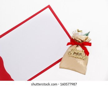 Merry Christmas sack with card, isolated on white