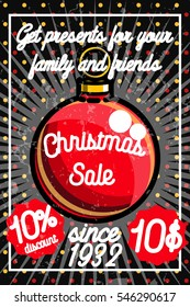 Merry Christmas sale promotion display poster. Postcard.
