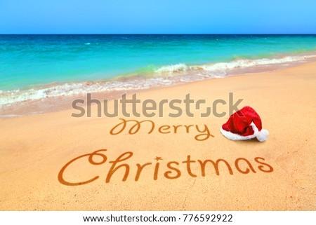 9d0be6b0179db Merry Christmas Santa Hat Tropical Beach Stock Photo (Edit Now ...