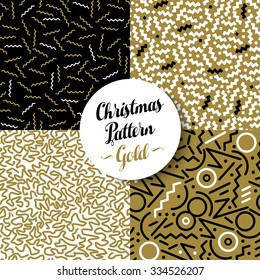 Merry Christmas seamless pattern set of fancy golden geometry designs in 80s retro style. Ideal for Xmas greeting card, web, or holiday party invitation.