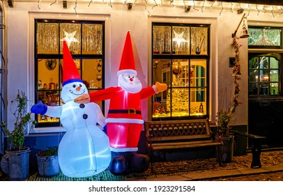 Merry Christmas street decor with Snowman and Santa Claus