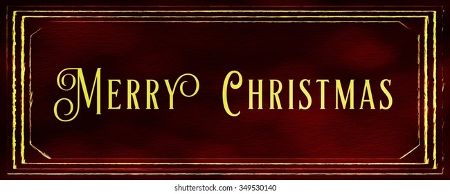 Merry Christmas Text Banner Red Gold