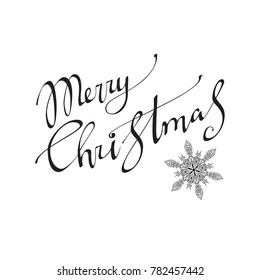 Merry Christmas  text Calligraphic Lettering design card template. Creative typography for Holiday Greeting Gift Poster. Calligraphy Font style Banner