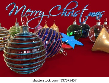 Merry Christmas text with many toys for the festive fir and bells. 3d illustration in bright colors celebration