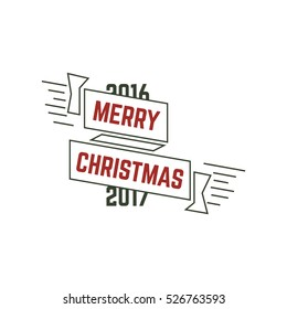 Merry Christmas typography wish sign. illustration of Christmas calligraphy label. Use for holiday photo overlays, tee designs, new year card and so on. Unusual line art design.