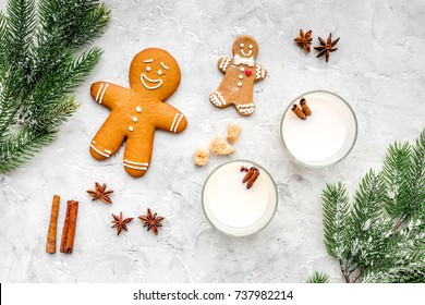Merry christmas in winter evening with alcohol drink. Eggnog with gingerbread cookie, cinnamon and spruce on stone desk background top view copyspace
