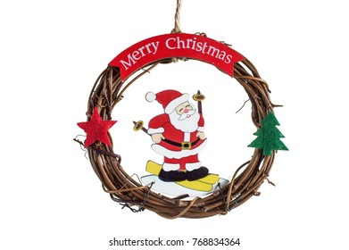 Merry Christmas. A wreath from the vine, Santa Claus with gifts