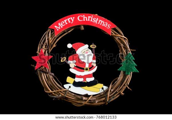 Merry Christmas Vine.Merry Christmas Wreath Vine Santa Claus Stock Photo Edit