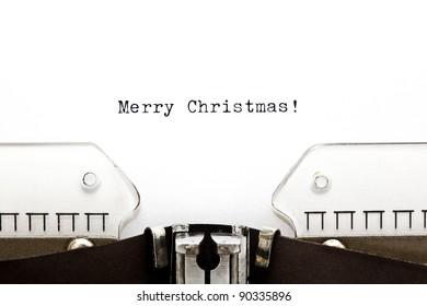 Merry Christmas written on an old typewriter