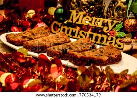 Merry Christmas Xmas Rum Cake Stock Photo (Edit Now) 770534179 ...