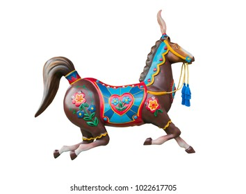 Merry go round or carousel horse isolated on white background