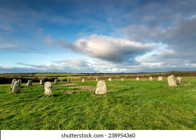 The Merry Maidens a neolithic stone circle neat St Buryan in the far west of Cornwall - also known as the Dawn's Men.