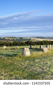 The Merry Maidens Stone Circle, Cornwall, UK,  at the Break of Day