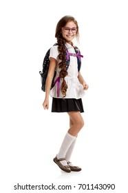 merry Schoolgirl with bag marching
