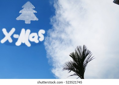 Merry xmas and christmas tree cloud on blue sky with big white cloud