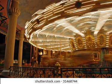 a merry-go-round in the evening