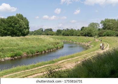 The Mersey River that runs through the Fletcher Moss park and Botanical Garden, Manchester, UK. 13/06/20
