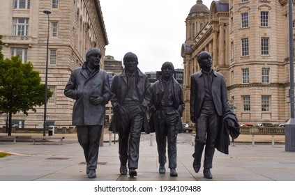 Merseyside, Liverpool, England  August 19th 2020 The Beatles statue in Liverpool to commemorate The Beatles in Liverpool, England