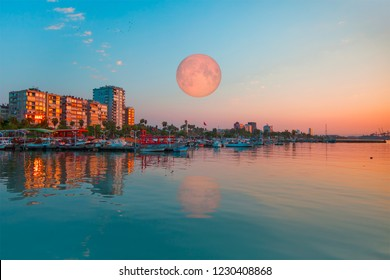 "Mersin city center with lunar eclipse - Mersin, Turkey ""Elements of this image furnished by NASA"""