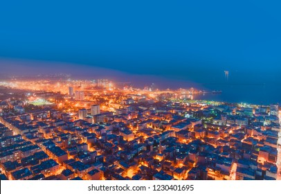 Mersin city center view from top of skyscaper at night - Mersin, Turkey