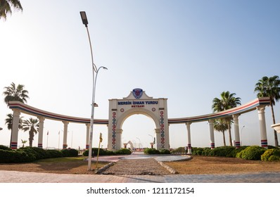 MERSIN CITY, TURKEY, OCTOBER 15, 2018; Mersin Idman Yurdu Sports Club Square. Representative architectural structure on the coast of Mersin.