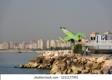 MERSIN CITY, TURKEY, OCTOBER 15, 2018;The CF 104 Starfighter type fighter on the Mersin coast. Famous touristic sightseeing point. One of the areas of interest in Mersin