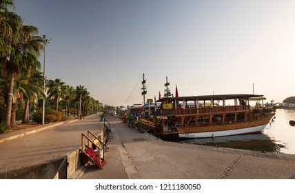 MERSIN CITY, TURKEY, OCTOBER 15, 2018;Mersin Harbor tourist sightseeing boats. Mersin is one of the largest cities in Turkey. Mediterranean coasts are visited by boats moving from the port