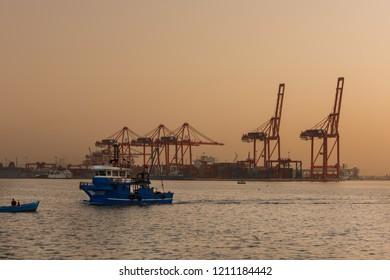 MERSIN CITY, TURKEY, OCTOBER 15, 2018;Mersin Uluslararası Limanı ( MIP )   (Türkish: Mersin Uluslararasi Limani )