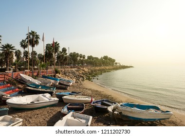 Mersin coast and amateur fishing boats in autumn, Mersin, Turkey