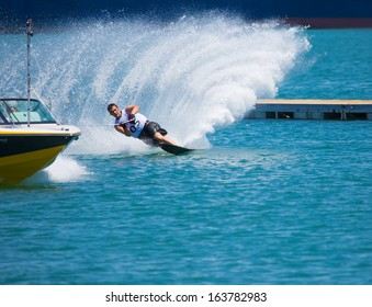 MERSIN - JUNE 22: Unidentified water skier, in the waterskiing trick event in action during the men.17. Mediterranean Games on June 22 , 2013 in Mersin Turkey