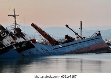Mersin port and sinking ship