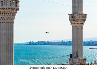 "MERSIN, TURKEY - APRIL 23, 2019: ""Solo Turk"" Turkish Air Aerobatics Show in Mersin at children's day"