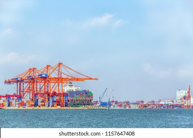 MERSIN, TURKEY - AUGUST 01, 2018: Close-up view of Mersin International Port ( MIP, Turkish: Mersin Uluslararasi Limani). It considerable hinterland in Anatolia, Mersin flourished as a major port.