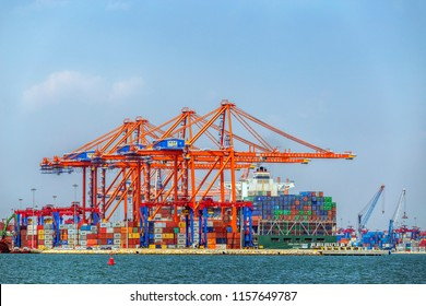 MERSIN, TURKEY - AUGUST 01, 2018: Close-up view of Mersin International Port ( MIP, Turkish: Mersin Uluslararasi Limani). It considerable hinterland in Anatolia. The port is in Mediterranean Sea.