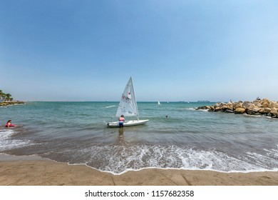 MERSIN, TURKEY - AUGUST 08, 2018: Mersin Sailing Club. The club teaches young people about sailing.
