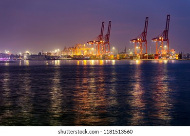MERSIN, TURKEY - AUGUST 22, 2018: View of the Mersin International Port ( MIP, Turkish: Mersin Uluslararasi Limani ) at night. It considerable hinterland in Anatolia. The port is in Mediterranean Sea.