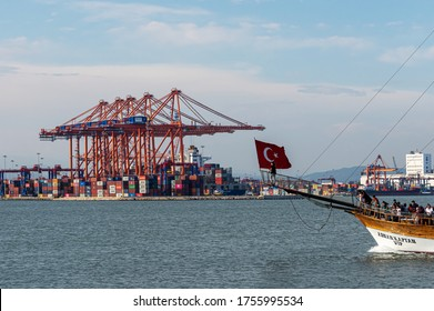 MERSIN, TURKEY - JUNE 14, 2020: Turkey's largest container port by handling nearly 2 million TEU per year, Mersin International Port (MIP) is ranked among the world's largest 100 ports.