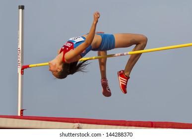 MERSIN - TURKEY - June 29: High jumper Ana Simic (Croatian athlete) competes at the Mediterranean Games Championships June 29, 2013 in Mersin Turkey.