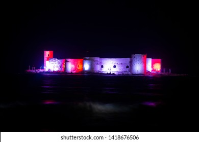 Mersin / Turkey, June 5, 2019, Mersin Kiz Kalesi (Castle) night view