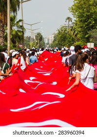 MERSIN, TURKEY - MAY 19: Turkish Republic day and Youth and Sports day celebrations. May 19 , 2013 in Mersin, Turkey