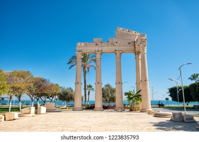 MERSIN, TURKEY, NOVEMBER 1, 2018: Replica of an ancient ruin from the coastline of Mezitli, a neighborhood of Mersin, Mersin is a large city and a port on the Mediterranean coast of southern Turkey.
