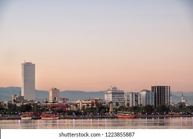 MERSIN, TURKEY, NOVEMBER 1, 2018: Coastline and buildings from Mersin, Mersin is a large city and a port on the Mediterranean coast of southern Turkey.