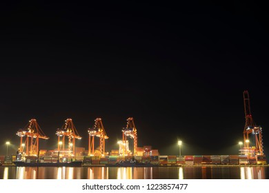 MERSIN, TURKEY, NOVEMBER 1, 2018: Mersin International Port at night, Mersin is a large city and a port on the Mediterranean coast of southern Turkey.